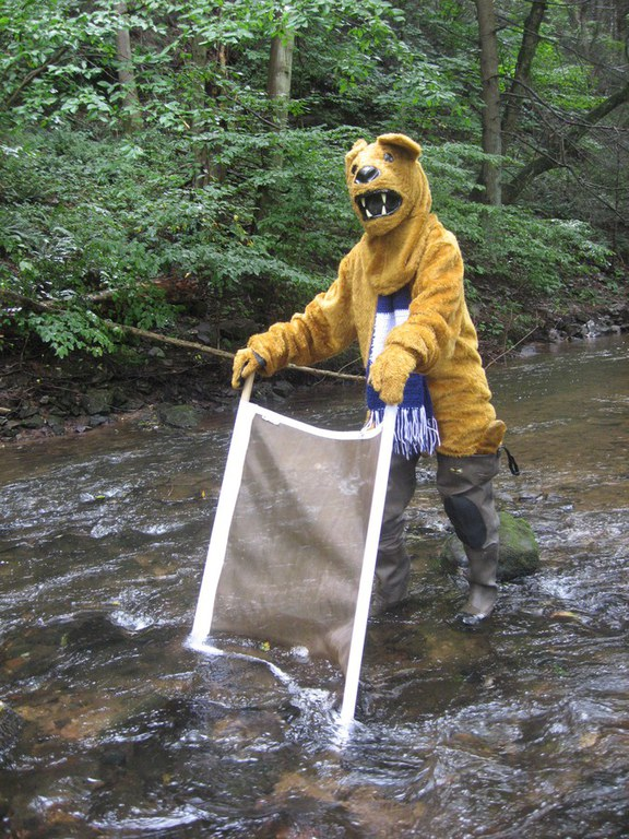 The Penn State Nittany Lion learns how to use a kick net