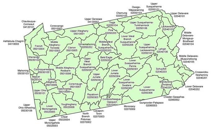 Pennsylvania's watersheds as identified by the EPA and USGS