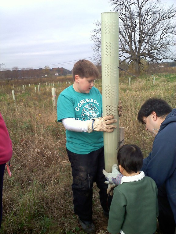 A riparian buffer tree planting event is a great example of a water related community service project