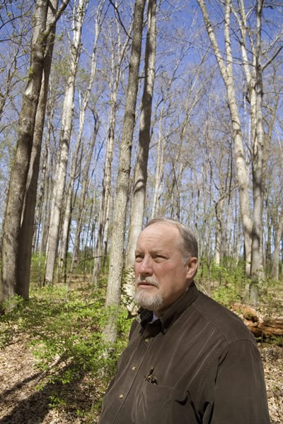 Dr. Kim Steiner in an oak regeneration forest, Photo by Gordon Harkins