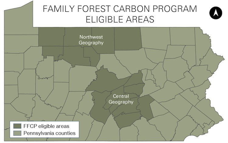 Areas of that have launched a pilot carbon sequestration initiative. All of the state's private forestlands may be included by year's end.