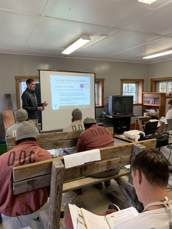 Through a logger training program, inmates prepare for possible future employment in Pennsylvania's forest products industry.