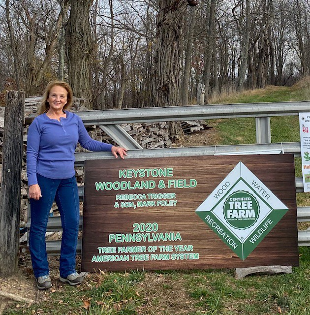 Rebecca Trigger, winner of the 2020 PA Outstanding Tree Farmer of the Year