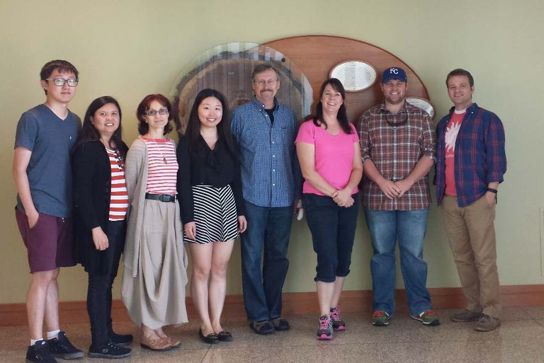 THE SCHATZ CENTER 2016, L to R: Tao Pang (Ph.D. student, Beijing Forestry University), Geraldine Muncada (Ph.D. student, University of the Philippines), Teodora Orendovici Best (Schatz Post-Doctoral Fellow), Wanyan Wang (PhD student), John Carlson (Director), Nicole Zembower (Lab Manager), T. Casey Weathers (PhD student), Nathaniel Cannon (PhD student)