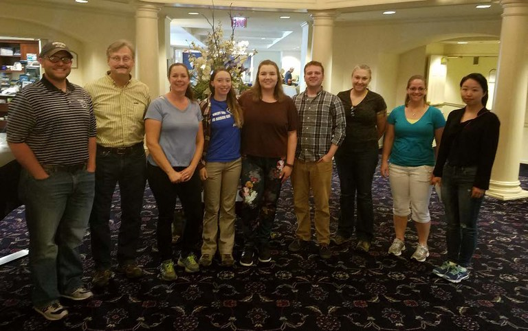 SCHATZ CENTER 2017, L to R:Casey Weathers (PhD student), John Carlson (Director), Nicole Zembower (Lab Manager), Maureen Mailander (undergrad' student), Lianna Johnson (undergrad' student), Nathaniel Cannon (PhD student), Colleen McMichael (visiting scholar), Krystle Swartz (undergrad' student), Wanyan Wang (PhD student). (not shown Di Wu, PhD student).