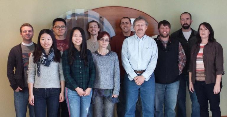 The Schatz Center 2014, l to r: Nathaniel Cannon, Wanyan Wang, Tao Pang, Di Wu, Alex Stanish, Teo Best, Byron Bredeal, John Carlson, Casey Weathers, Jeff Osborne, Nicole Zembower
