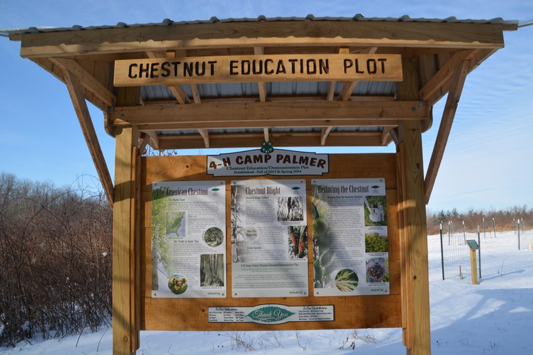 Educational Sign at Camp Palmer Chestnut Demonstration Orchard in Fayette, OH