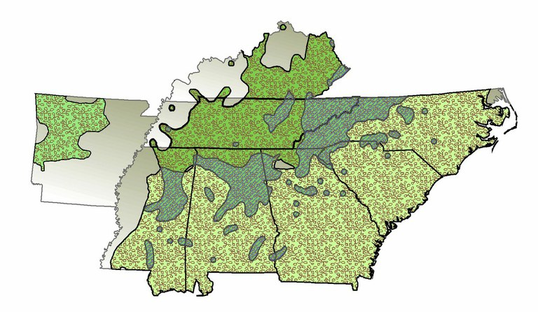 TACFs Southern Appalachian Region with C. dentata, C. pumila, and C. ozarkensis ranges.